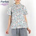 LIBERTY/リバティフランダースリネンスタンドフリルピンタックシャツ(Josephine'sGardenジョセフィンズ・ガーデンブルー/花柄/Mサイズ)Parkes/パークス