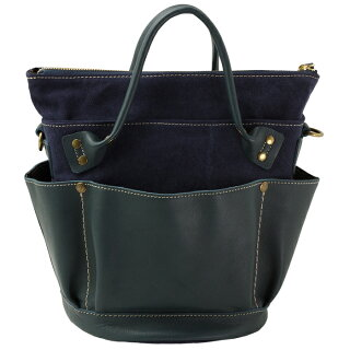 Folna/フォルナ牛本革×キャンバスバケツ型2wayバッグ(レッド30)