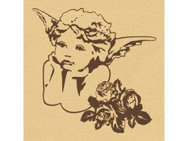 ARTE/アルテ ウッドスタンプ F 柄:エンジェル&ローズ WS-F-02 【スタンプ】【はんこ】【手作り】【デコレーション】【message】【card】