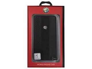 エアージェイ Alfa Romeo 公式ライセンス品 High Quality Carbon Synthettic Leather book case w/card holder Black iPh