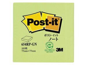 3M スリーエムジャパン Post-it ポストイット 再生紙 ノート グリーン 100枚 1パッド 654RP-GN 縦75×横75mm 21_3mp10 3m_psta