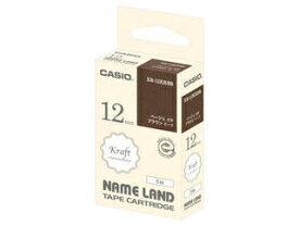 CASIO/カシオ計算機 ネームランド用クラフトテープ 12mm ブラウン/ベージュ文字 XR-12KRBR