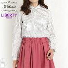 LIBERTY/リバティくるみボタン丸襟長袖シャツ(ホワイト/Mサイズ)J.sloane/ジェイスローアン