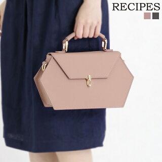 牛床革六角形ショルダーバッグ(スモーキーピンク/レディース/レザー)RECIPES/レシピス