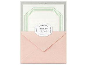 MIDORI/ミドリ レターセット 活版 フレーム柄 ピンク 86462006