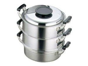 0476000 モモ 18−0 プレス 丸蒸器 3段 29cm