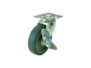 YUEI CASTER/ユーエイ キャスター自在車ストッパー付 65径エラストマー車輪 E-65ELS