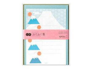 MIDORI/ミドリ レターセット シール付 ふくふく 富士山柄 86479006