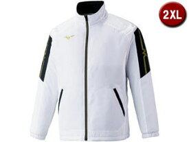 美津濃 MCL 中綿ブレスサーモジャケット 2XLサイズ (ホワイト×ゴールド) 32ME1630