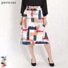 ツイルプリントAラインスカート(レッド・ネイビー/Mサイズ38/I-8197)portcros/ポートクロス