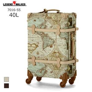 【nightsale】 World Trunk/ワールドトランク ・7016-55 地図柄トランクケース ルネサンス(40L/地図柄ヌメ) T&S(ティーアンドエス) 旅行 スーツケース キャリー 小さい 国内 Sサイズ おしゃれ かわい