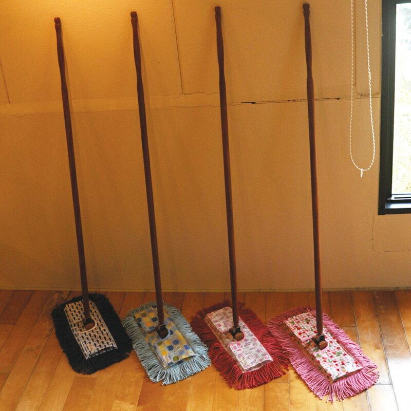 送料無料!むろの屋 デザインモップ 木製ハンドル付き フロアモップ 【送料無料】 /掃除道具