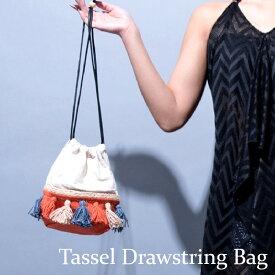 タッセルフリンジカジュアル巾着バッグ リラキャンベル LILASCAMPBELL トートバッグ ハンドバッグ キャンバスバッグ カバン 鞄 レディース BAG カジュアル ブランド オレンジ 小さい ミニバッグ 軽い ベージュ