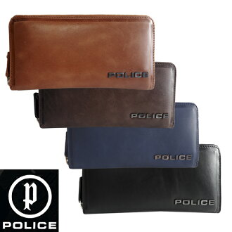 POLICE police round fastener long wallet EDGE edge men wallet large-capacity cowhide Wilde big logo parched flour processing brand wallet PA-58002