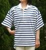 (Americana) a horizontal stripe rugger (white x navy)