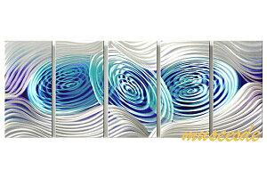 近代芸術 インテリア 壁掛けアートメタルアート アイアンアート モダン 抽象 彫刻 3D 絵画 金運 風水 グラデーション モノトーン アートパネル5パネルSET 青の世界 銀の糸 藤色 曲線 丸の内線