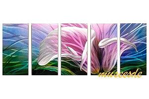 近代芸術 インテリア 壁掛けアートメタルアート アイアンアート モダン 抽象 彫刻 3D 絵画 金運 風水 グラデーション モノトーン アートパネル5パネルSET ピンクの花 カラフル オランダカイウ