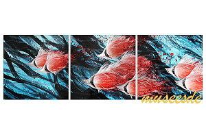 近代芸術 インテリア 壁掛けアートメタルアート アイアンアート モダン 抽象 彫刻 3D 絵画 金運 風水 グラデーション モノトーン アートパネル3パネルSET 熱帯魚 沖縄 ハワイ さかな 海 MP3H020