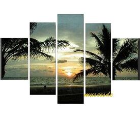 ミュゼ・デユ 手書き 絵画モダン 壁掛け インテリア アート『パネルアート』5パネルSET『アートパネル』特大!BIGサイズ風景 自然 バリ風 海 空 やしの木 夕焼け 朝日 日の出 南国 青 P5U015