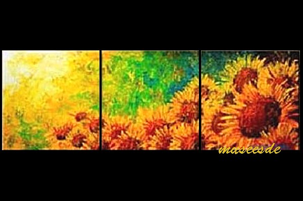 【絵画】【モダン】【手書き】【壁掛け】【油絵】【自然画】【花】【インテリア】『パネルアート』3パネルSET向日葵 ひまわり 黄橙赤緑 和風 P3H003