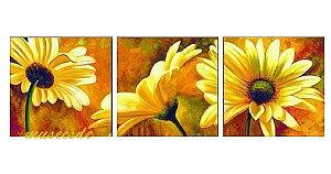 【絵画】【モダン】【手書き】【壁掛け】【油絵】【自然画】【花】【インテリア】『パネルアート』3パネルSET 向日葵 ひまわり ヒマワリ 黄色 P3H056