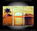 【絵画】【モダン】【手書き】【壁掛け】【油絵】【自然画】【風景】【インテリア】『パネルアート』3パネルSET海 日の出 夕焼け 橙黄色 バリ風 P3K019