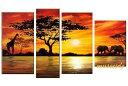 【ミュゼ・デユ】【手書き】【壁掛け】【油絵画】【自然画】【モダン】【インテリア】【風景画】『パネルアート』4パ…