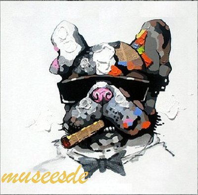 ミュゼ・デユ オイルペイントモダン ファブリックパネルアートペット絵画 動物油彩絵 壁掛け 手書きパネルアート フレームアート犬 猫 鳥 魚 鹿 猿 熊 蛙 虫 馬フレンチ・ブルドッグ