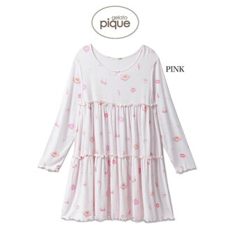 gelato pique gelato picket dress mail order girls nightdress pwco185215/2018 ジェラピケルームウェア house coat pajamas knee long Japanese paper sleeve gift present birthday present lapping Lady's in the fall and winter