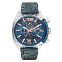 【送料無料】 ディーゼル 時計 DIESEL 腕時計 DZ4374 メンズ クロノグラフ ネイビー×デニムベルト OVERFLOW オーバー…