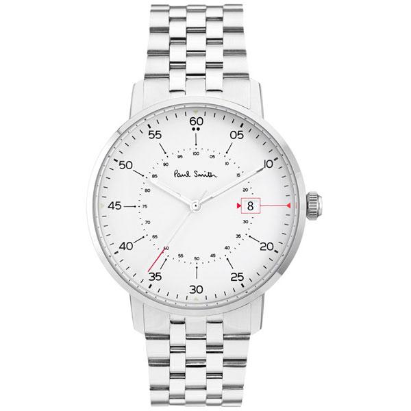 【送料無料】ポールスミス 時計 Paul Smith 腕時計 P10074 Gauge ゲージ メンズ ウォッチ ホワイト×シルバー とけい【あす楽対応】【RCP】【プレゼント】【ブランド】【セール】