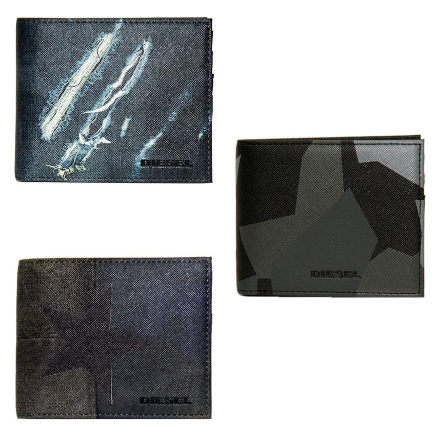 【送料無料】ディーゼル 財布 DIESEL 二つ折り財布 メンズ X03370 P0408 H6393/ダメージデニム風 X03370 P0408 H6180/ブラック系 X03370 P0408 H6185/ダメージカラー(スター) HIRESH SMALL さいふ 【あす楽対応】【RCP】【プレゼント】【ブランド】