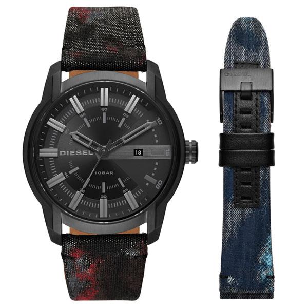 【送料無料】ディーゼル 時計 DIESEL 腕時計 DZ1851 メンズ ARMBAR アームバー 替えベルト付 デニム ブラック×レッド とけい ウォッチ 【あす楽対応】【RCP】【プレゼント】【ブランド】【セール】