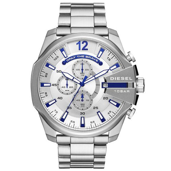 【送料無料】 ディーゼル 時計 DIESEL 腕時計 DZ4477 メンズ MEGA CHIEF メガチーフ クロノグラフ シルバー×ブルー とけい ウォッチ 【あす楽対応】【RCP】【プレゼント】【ブランド】【ラッキーシール対応】