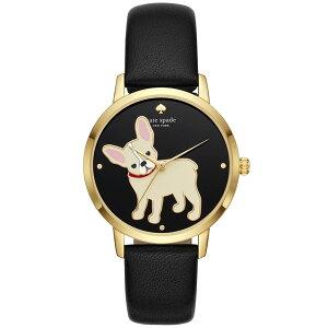 【送料無料】ケイトスペード 腕時計 レディース 時計 kate spade KSW1406 Antoine Metro Grand メトロ 女性用 フレンチブルドッグ 犬 ドッグ ブラック×ゴールド【プレゼント】【ブランド】【セール】