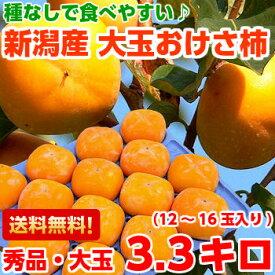 種なしだからとっても食べやすい♪新潟産おけさ柿 赤秀 約3.3kg【北海道800円・沖縄・一部離島1,000円】
