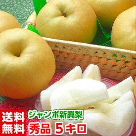 北海道、沖縄・一部離島は発送不可二十世紀梨から生まれた大玉梨!!みずみずしく酸味と甘味のバランスが絶妙♪樹成り完熟大玉新興梨5kg