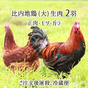 比内地鶏 大型 2羽 生肉(正肉 約2.4kg・もつ 約340g・ガラ 約1.2kg) 秋田県大仙市産 むね/もも/ささみ/せせり/手羽先/皮/ぼんじり/ハツ/レバー/砂肝/ガラ 送料無料