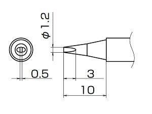 白光(HAKKO) こて先 1.2D型 T12-D12