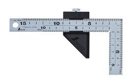 シンワ測定 曲尺厚手広巾 シルバー 15cm 表裏同目 8段目盛 ストッパー付 12433