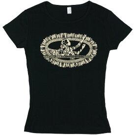 フラダンス レッスン Tシャツ 半袖 フライス ホワイトジンジャー柄 黒×ベージュ ネコポス対応可