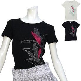 フラダンス フラ 速乾加工 フライス 半袖 Tシャツ トーチジンジャー柄 ネコポス対応可