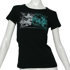 フラ 半袖 Tシャツ フライス ハワイアン レッスン レディース ハイビスカス&プルメリア柄 黒×グラデーション(白〜エメラルド) ネコポス対応可