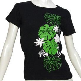 フラダンス 速乾ドライ加工 フライス 半袖 Tシャツ タヒチアンモンステラ柄 黒×緑&白 ネコポス対応可