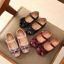 女の子 子ども キッズ エナメル フォーマル 靴 リボン シューズ バレエパンプス 3色 定形外送料無料 黒 ブラッ…