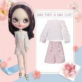 ブライス人形ドール服衣装スカートスーツストライプブラウンネイビー