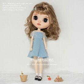 ブライス 服 ワンピース オフショル シースルー blythe 洋服 人形 ネオブライス BJD 球体関節人形 ブルー 夏 青 水色 人形服