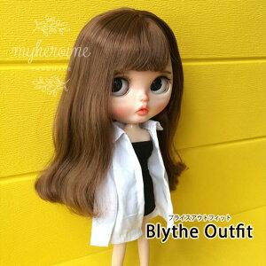 ブライス blythe シャツ Yシャツ トップス カジュアル White ホワイト シンプル 無地 人形 ネオブライス 服 BJD 球体関節人形