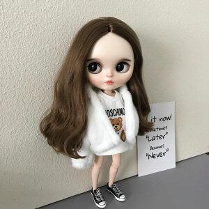 ブライス blythe 服 もこもこアウター 白 人形 ネオブライス 服 BJD 球体関節人形