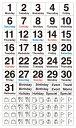 貼るだけでバレットジャーナルが簡単に作れる!1日が月曜日から始まる月のデイリーログが作れる日付と曜日を組み合わせたマスキング素材のシールです。3000円以上お買い上げで送料無料! ベーシック・デイリー・月曜始まり